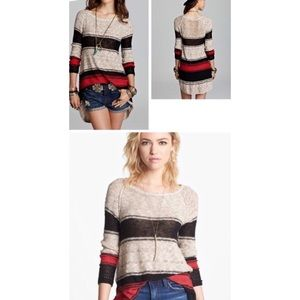 Free People Block of stripes pullover sweater